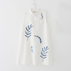 Meimei - Floral Print Frog Button Sleeveless Dress