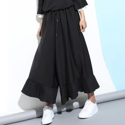 Myrtle - Pleated Chiffon Wide Leg Pants