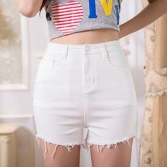 Sienne - Fray Hem High Waist Denim Shorts