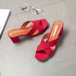 Chryse - Block Heel Slide Sandals