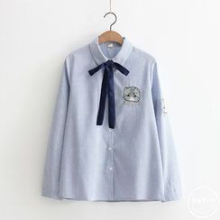 PANDAGO - Cat Embroidered Striped Shirt