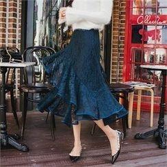 Babi n Pumkin - Ruffled-Hem Laced Skirt