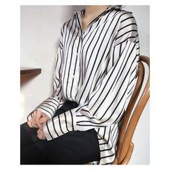 FROMBEGINNING - Striped Satin Shirt