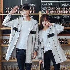 We Belong - Couple Matching Contrast Panel Hooded Long Jacket