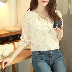 MyFiona - 3/4-Sleeve Floral Print Chiffon Top