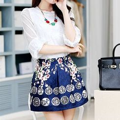 Romantica - Elbow-Sleeve Lace Top / Printed A-Line Skirt