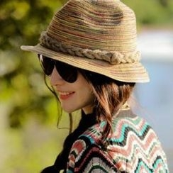 Hats 'n' Tales - Multicolor Straw Fedora Hat