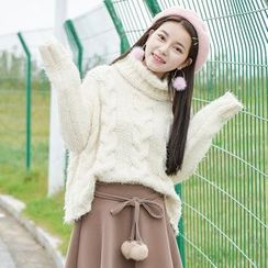 Moriville - Turtleneck Cable Knit Sweater