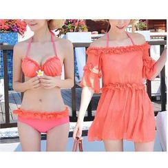 Jumei - Set: Frill Trim Bikini + Off-Shoulder Cover-Up Dress