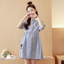 Mamaladies - 長袖孕婦翻領條紋純棉連衣裙