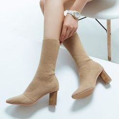 JY Shoes - Chunky Heel Ankle Boots