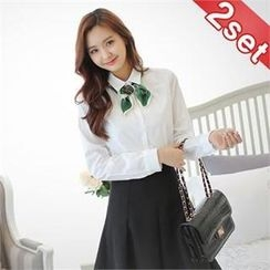 Styleberry - Set: Slim-Fit Cotton Shirt + A-Line Skirt