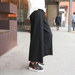 PPGIRL - Tie-Waist Ribbed Pants