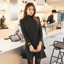DABAGIRL - Mock-Neck Ruffle-Hem Mini Knit Dress