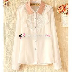 Ringnor - Frilled-Trim Lace-Panel Chiffon Shirt