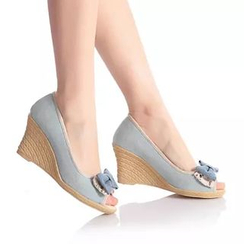 Pangmama - Bow Peep Toe Wedges