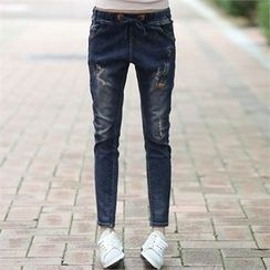 CHICFOX - Drawstring-Waist Distressed Tapered Jeans