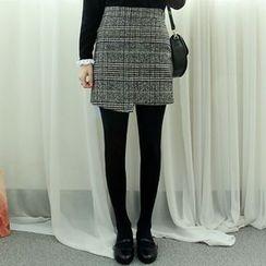 Dodostyle - Wool Blend Glen Check Skirt