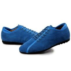 EnllerviiD - Genuine-Leather Lace-Up Casual Shoes