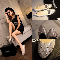 Romantina - Studded Genuine Leather Flats