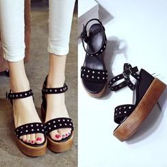 Romantina - Studded Platform Wedge Sandals