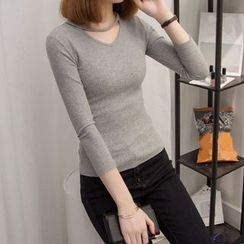 Bloombloom - V-Neck Ribbed Knit Top