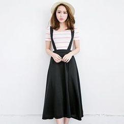 LULUS - Suspender Midi Skirt