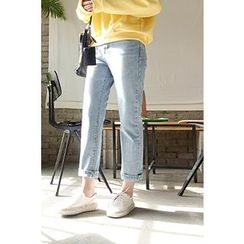 CHERRYKOKO - Washed Tapered Jeans