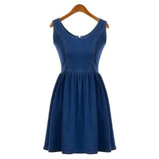 Flower Idea - Sleeveless Denim Skater Dress