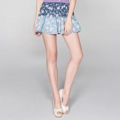 O.SA - Gradient Floral Denim Skirt