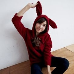 BAIMOMO - Long-Sleeve Ear-Hooded Bouclé Top