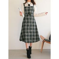 J-ANN - Wool Blend Check Dress