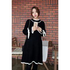 Momnuri - Maternity Contrast-Trim Wool Blend Knit Dress