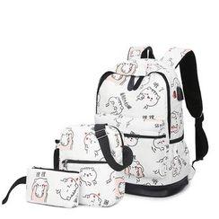 Golden Kelly - Set: Cat Print Backpack + Shoulder Bag + Zip Pouch