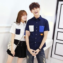 NINETTE - Short-Sleeve Color-Block Couple Shirt