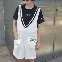 SUYISODA - Smiley V-Neck Pinafore Dress