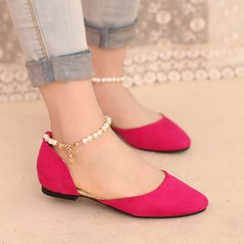 IYATO - Ankle-Strap Beaded Flats