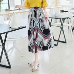 ZIZIBEZIRONG - Patterned A-Line Long Skirt