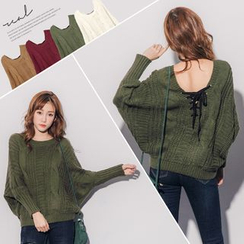 PUFII - Laec-up Back Cable Knit Top