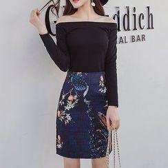 Fashion Street - 套裝: 露肩針織上衣 + 印花鉛筆裙
