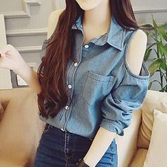 Fashion Street - Cold Shoulder Denim Shirt