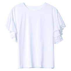 Sentubila - Ruffle Short-Sleeve T-Shirt