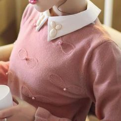 anzoveve - Embellished Collar Beaded Sweater
