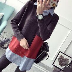 Qimi - Color Block Mock Two-Piece Sweater