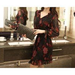 Marlangrouge - Floral Print A-Line Shirtdress