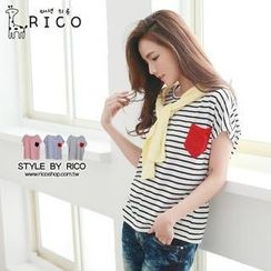 rico - Short-Sleeve Contrast-Pocket Striped T-Shirt