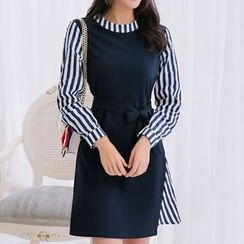 Q.C.T - Pinstripe Panel Long-Sleeve Dress