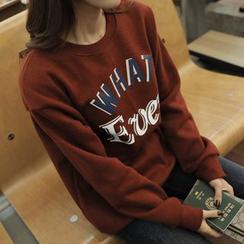 CLICK - Brushed Fleece Lettering Print Sweatshirt