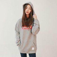 Vintage Vender - Hooded Lettering Brushed-Fleece Lined Pullover