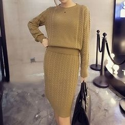 Bloombloom - Set: Long-Sleeve Cable Knit Top + Cable Knit Skirt